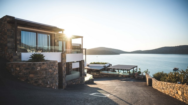 modern house fronting lake