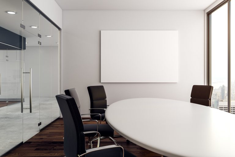 Modern conference room with poster